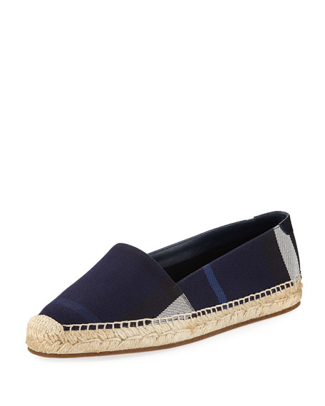 Burberry Hodgeson House Check Flat Espadrille, Navy
