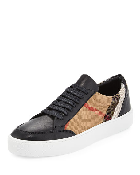 Salmond Check & Leather Low Top Sneakers, House Check/Black by Burberry