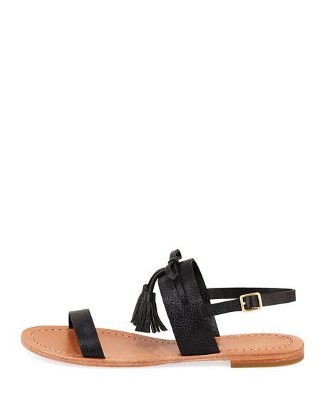 carlita flat pebbled leather tassel sandal