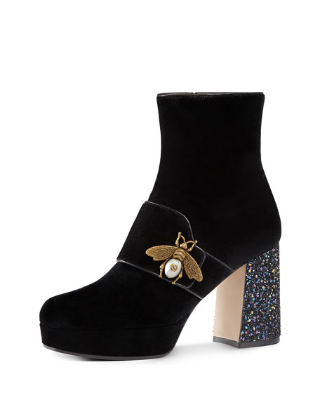 Gucci Soko Glitter-Heel Bee Boot, Black