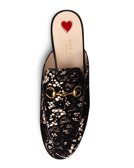 Lace Mule Loafer, Black