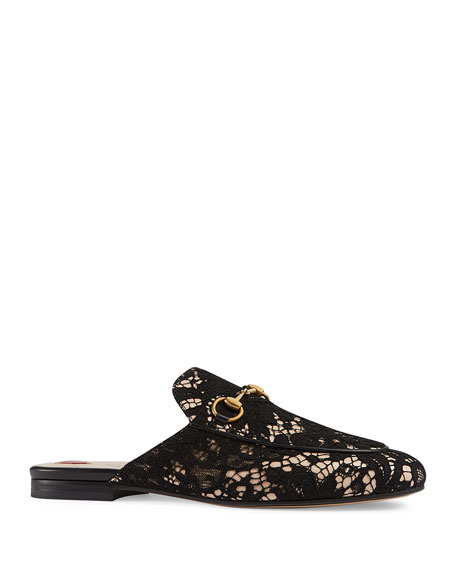 Gucci Princetown Lace Mule Loafer, Black