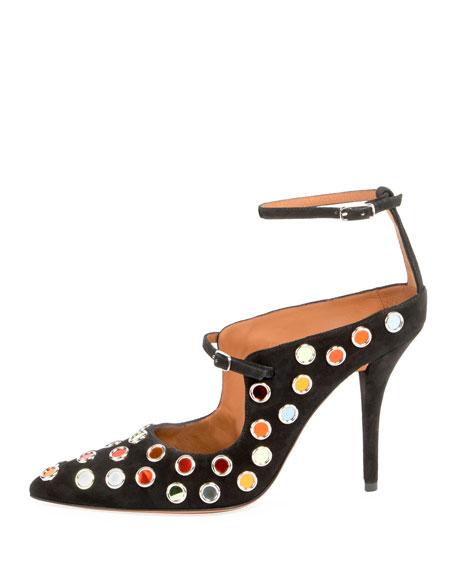 Multicolor-Stud Ankle-Wrap Pump, Black