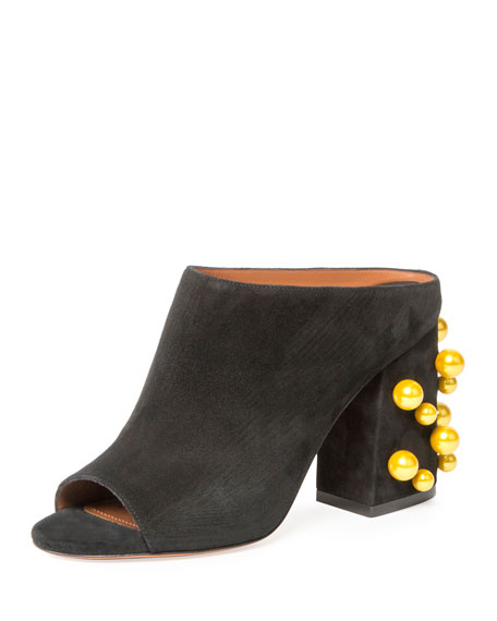 Givenchy Paris Pearly-Stud 90mm Mule Sandal, Black/Yellow