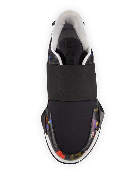 Elastic Pansy Floral-Print Runner Sneakers, Multi