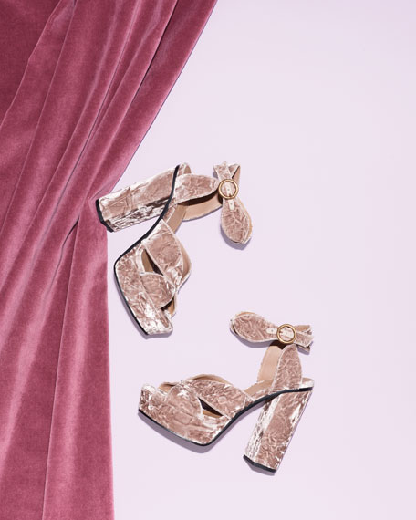 Graphic Leaves Velvet Sandals, Tan Rose