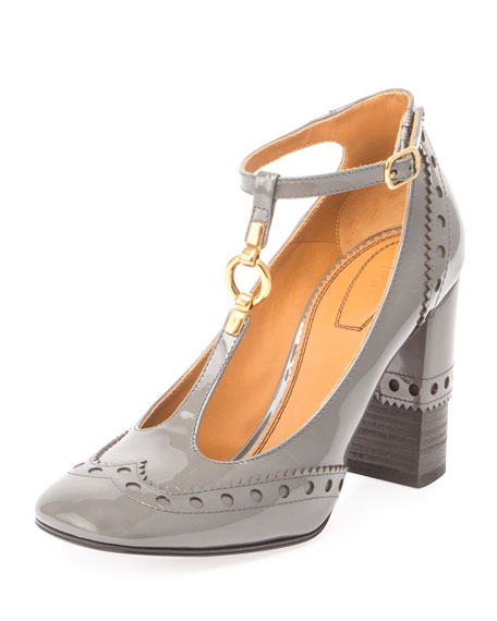 Chloe Perry Patent 95mm T-Strap Pump, Dusty Gray