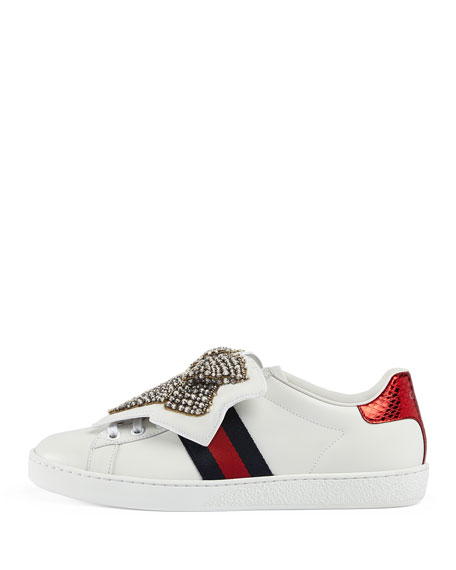 New Ace Crystal Bow Sneaker, White