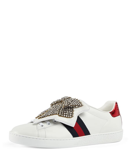 Gucci New Ace Crystal Bow Sneaker, White