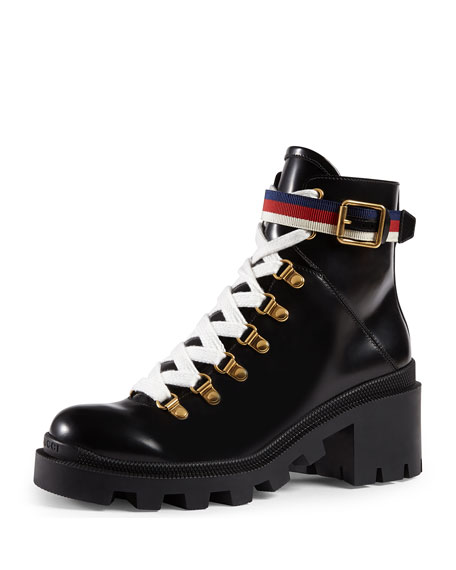 Gucci Trip Leather Combat Boot