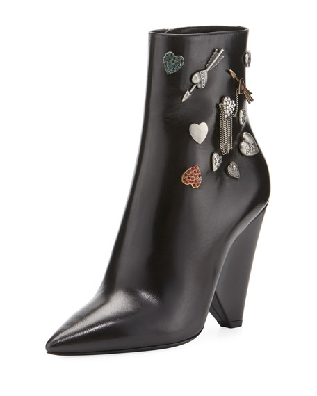 Saint Laurent Button-Embellished Leather Bootie
