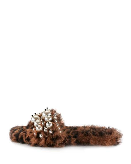 Pearly Fur Slide Sandals, Leopard