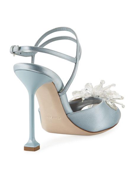 Crystal-Embellished Sandal, Blue