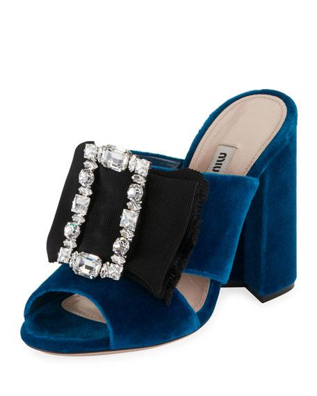 Miu Miu Crystal-Buckle Velvet Mule Sandal, Cobalt