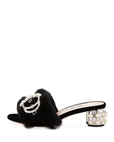 Embellished Fur Slide Mule, Black