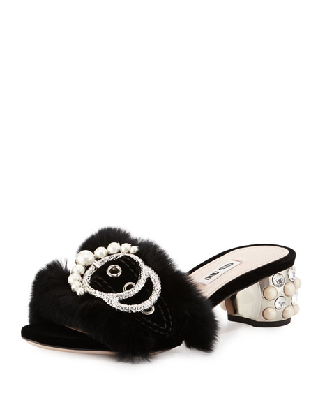 Miu Miu Embellished Fur Slide Mule, Black