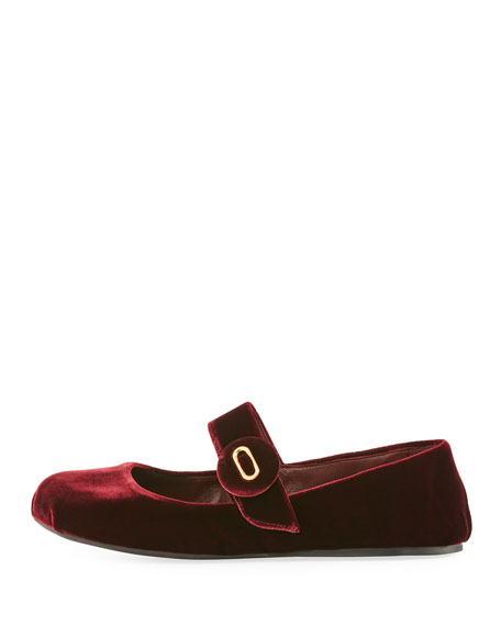 Velvet Mary Jane Ballet Flat, Dark Red