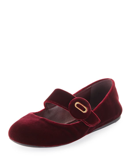 Prada Velvet Mary Jane Ballet Flat, Dark Red