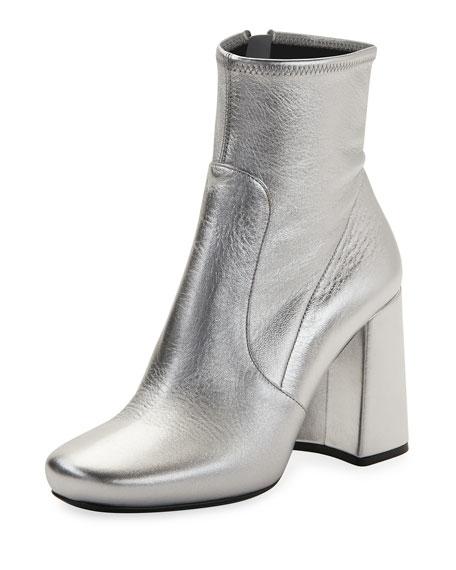 Crinkled Metallic Zip Bootie, Silver