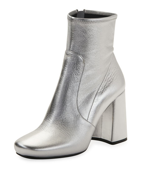 Prada Crinkled Metallic Zip Bootie, Silver