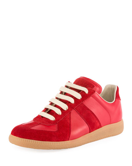 Maison Margiela Mixed Leather Low-Top Lace-Up Sneaker