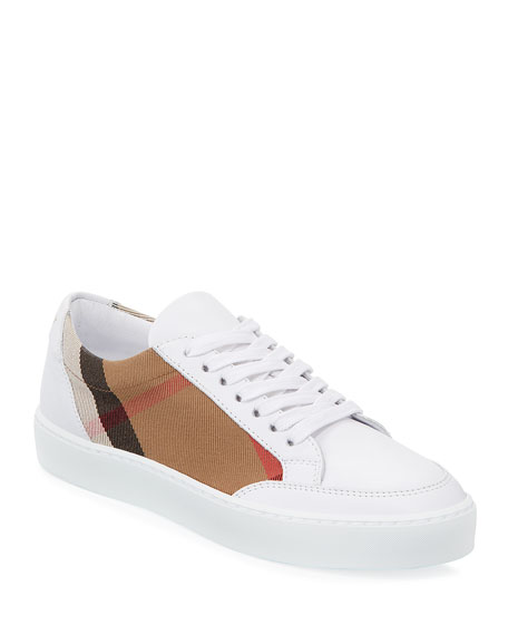 Burberry Salmond Check & Leather Sneaker, White