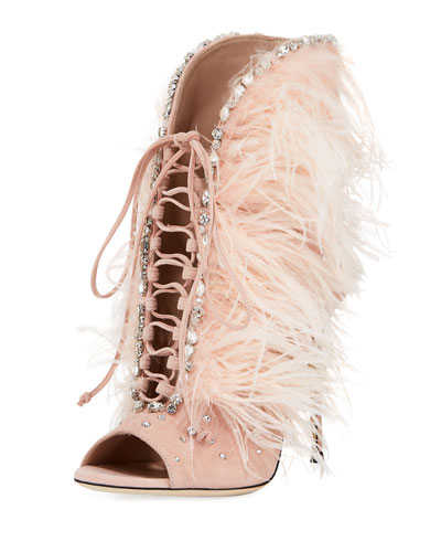 Jeweled Feather Suede Lace-Up Bootie