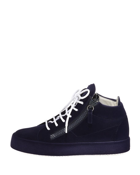Flocked Suede Mid-Top Sneakers