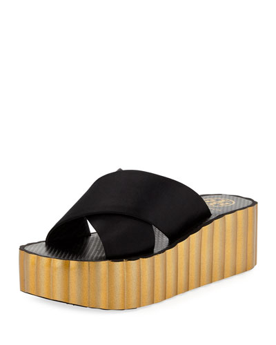 Scallop Wedge Platform Slide Sandal