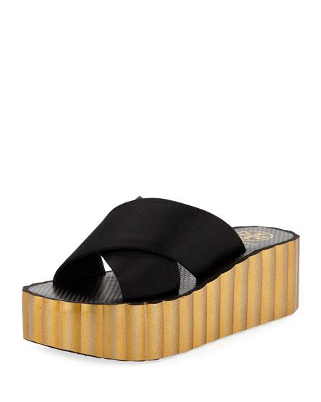 Scallop Wedge Platform Slide Sandal
