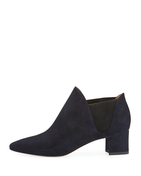 Poppy Suede Ankle Boot, Navy