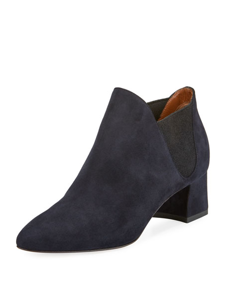 Aquatalia Poppy Suede Ankle Boot, Navy