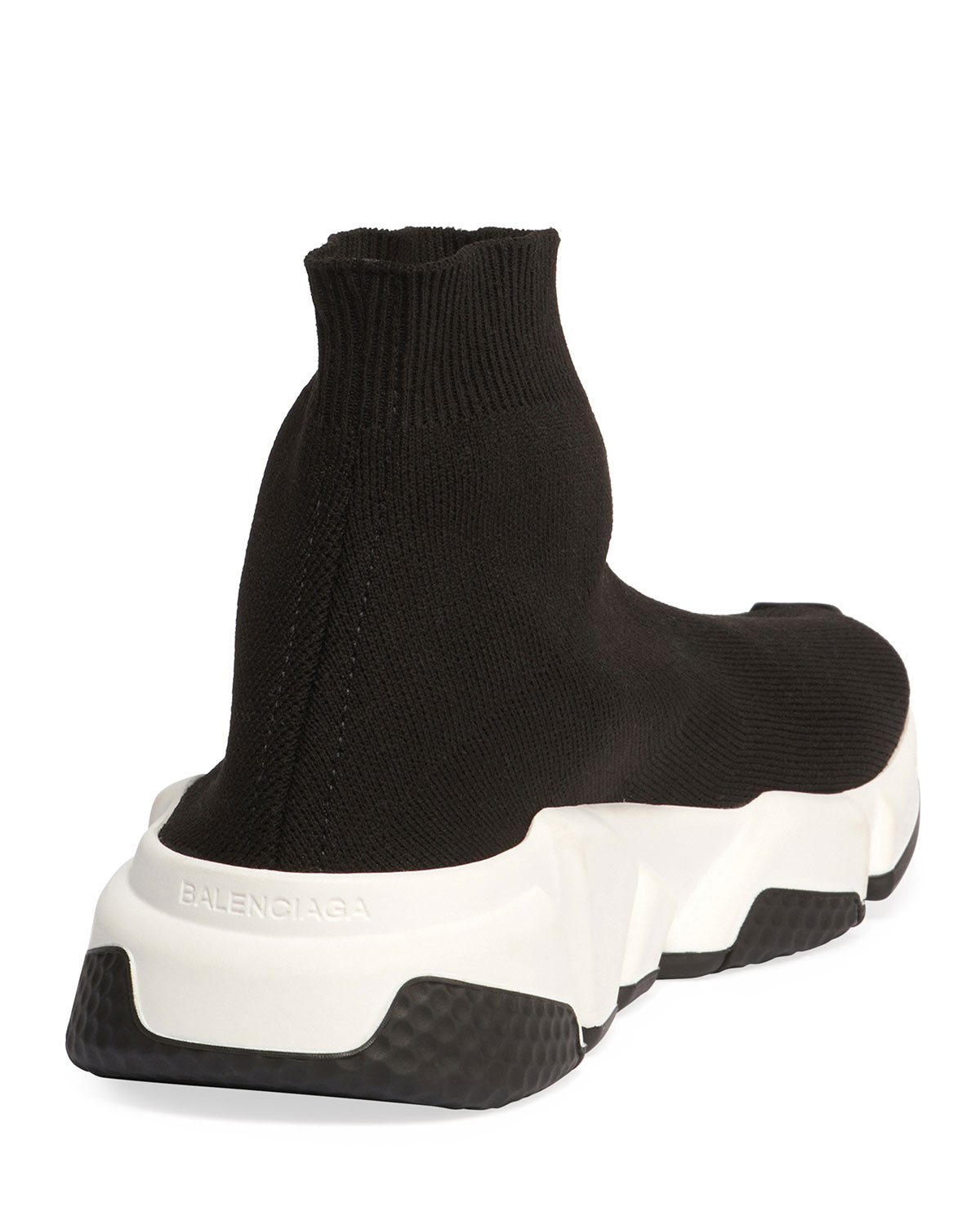 6d1daf07d20 Balenciaga Stretch-Knit High-Top Trainer, Noir | Neiman Marcus