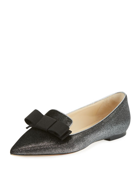 Jimmy Choo Gala Metallic Velvet Bow Loafer