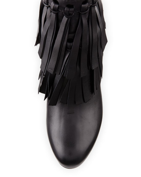 Mala Leather Fringe 85mm Booties