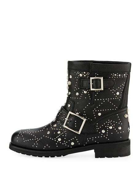 Youth Star-Studded Leather Moto Boot