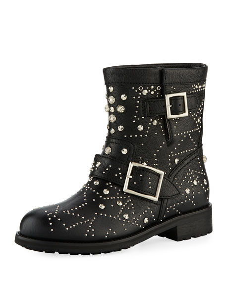 Jimmy Choo Youth Star-Studded Leather Moto Boot