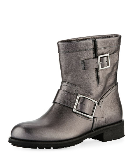 Youth Flat Metallic Leather Moto Boots