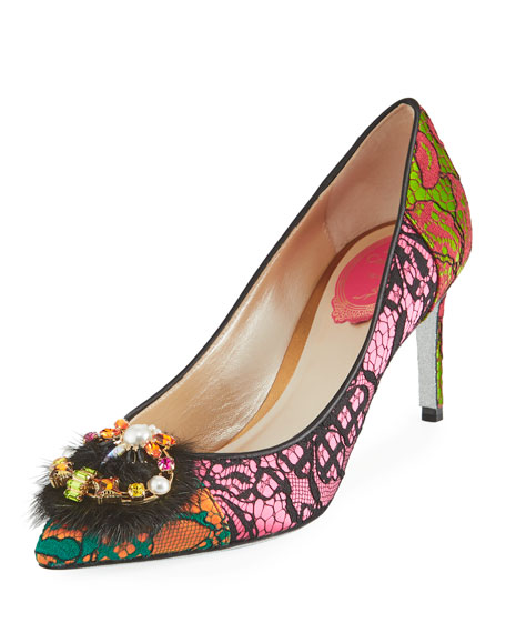 Rene Caovilla Fur-Trim Lace 75mm Pump, Multi