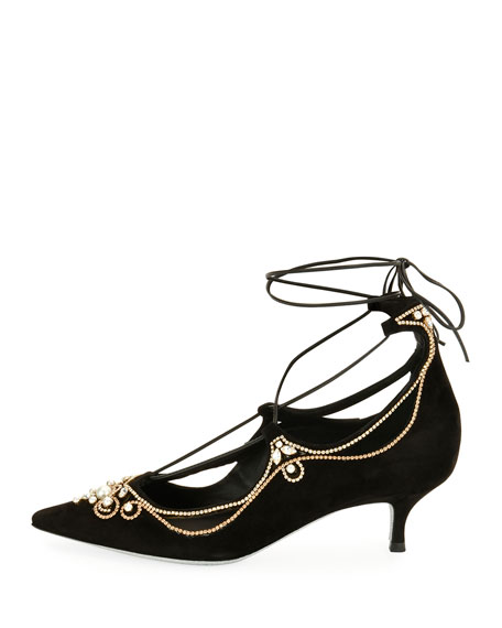Suede Embellished Lace-Up Pumps, Black