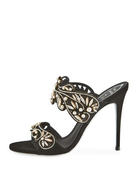 Arabesque Beaded Slide Sandals, Black