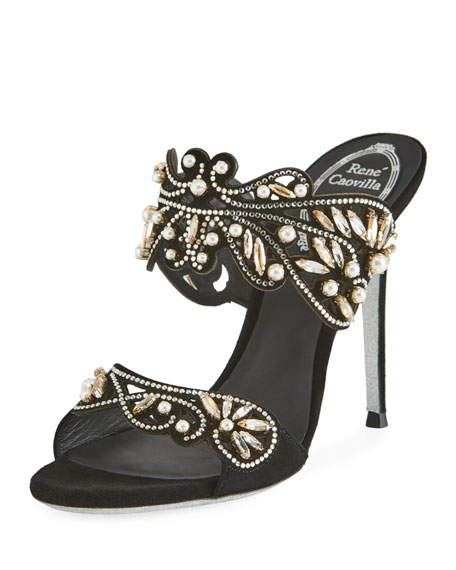 Rene Caovilla Arabesque Beaded Slide Sandal, Black