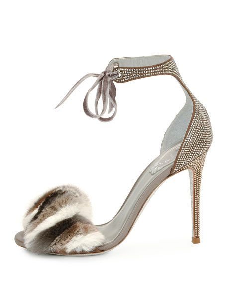 Fur & Crystal Ankle-Strap 105mm Sandal, Gray
