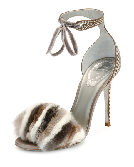 Rene Caovilla Fur Amp Crystal Ankle Strap 105mm Sandals