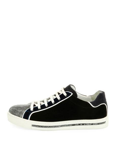 Velvet Embellished Lace-Up Sneaker