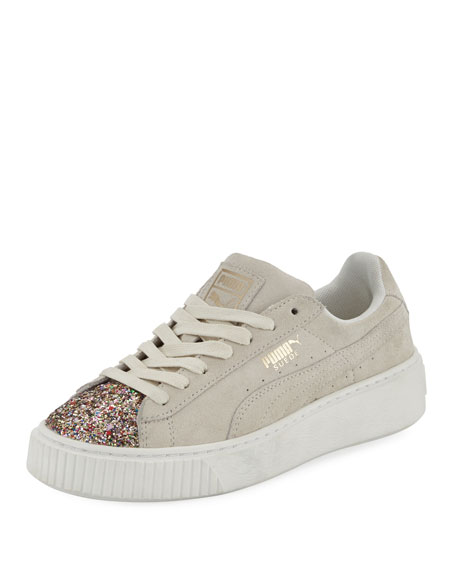 Suede Glittered Platform Sneakers, Cream