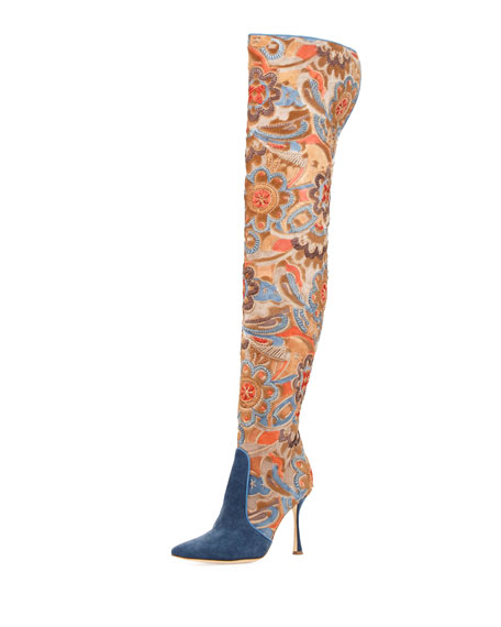 Manolo Blahnik Temaquita Floral Over-The-Knee Boot