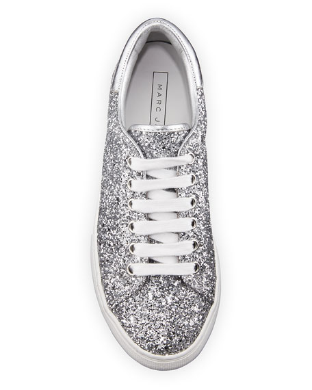 Empire Glitter Low-Top Lace-Up Sneaker, Silver