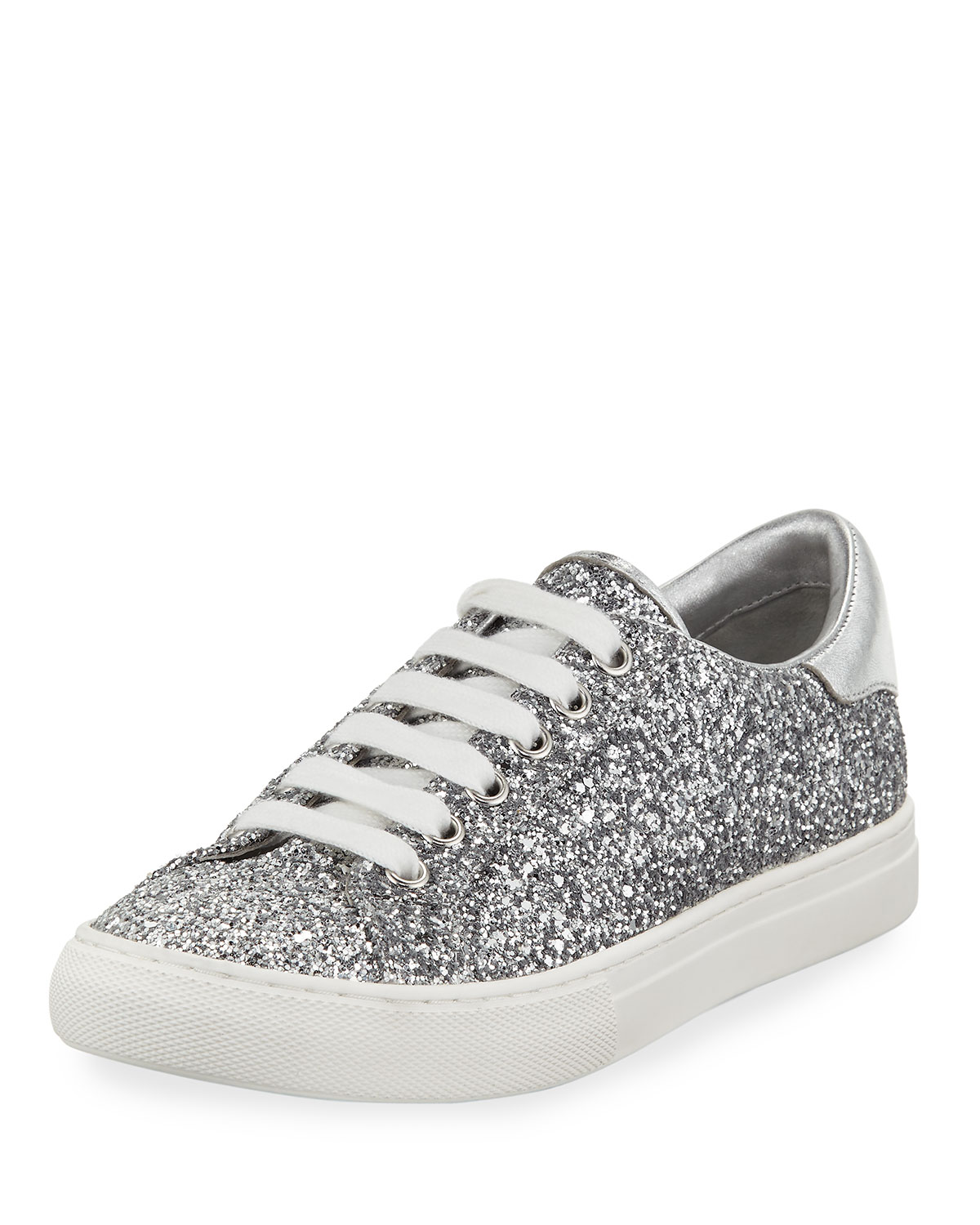 f599407b0fe8 Marc Jacobs Empire Glitter Low-Top Lace-Up Sneaker, Silver | Neiman ...