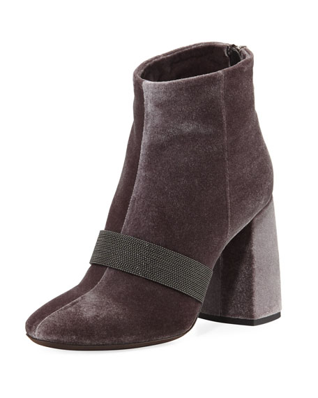 Velvet Zip Monili-Trimmed Booties